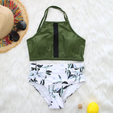 Women Neck Strap Sexy High Strength Sports Bikini with Pockets Army green shirt S - Women In The Army
