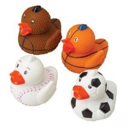 Lot Of 12 Assorted Sports Themed Rubber Ducks Duckies - Rubber Ducky Theme