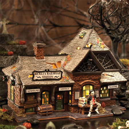 Department 56 Halloween Village 800000 Rickety Railroad Train Station (Classroom Halloween Stations)