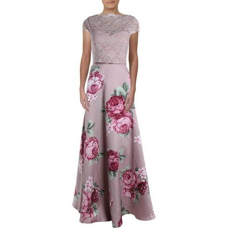 City Studio Womens Juniors Floral Print Glitter Lace Crop Top Dress