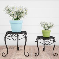 Plant Stands– Set of 2 Indoor or Outdoor Plant Display by Pure Garden (Black)