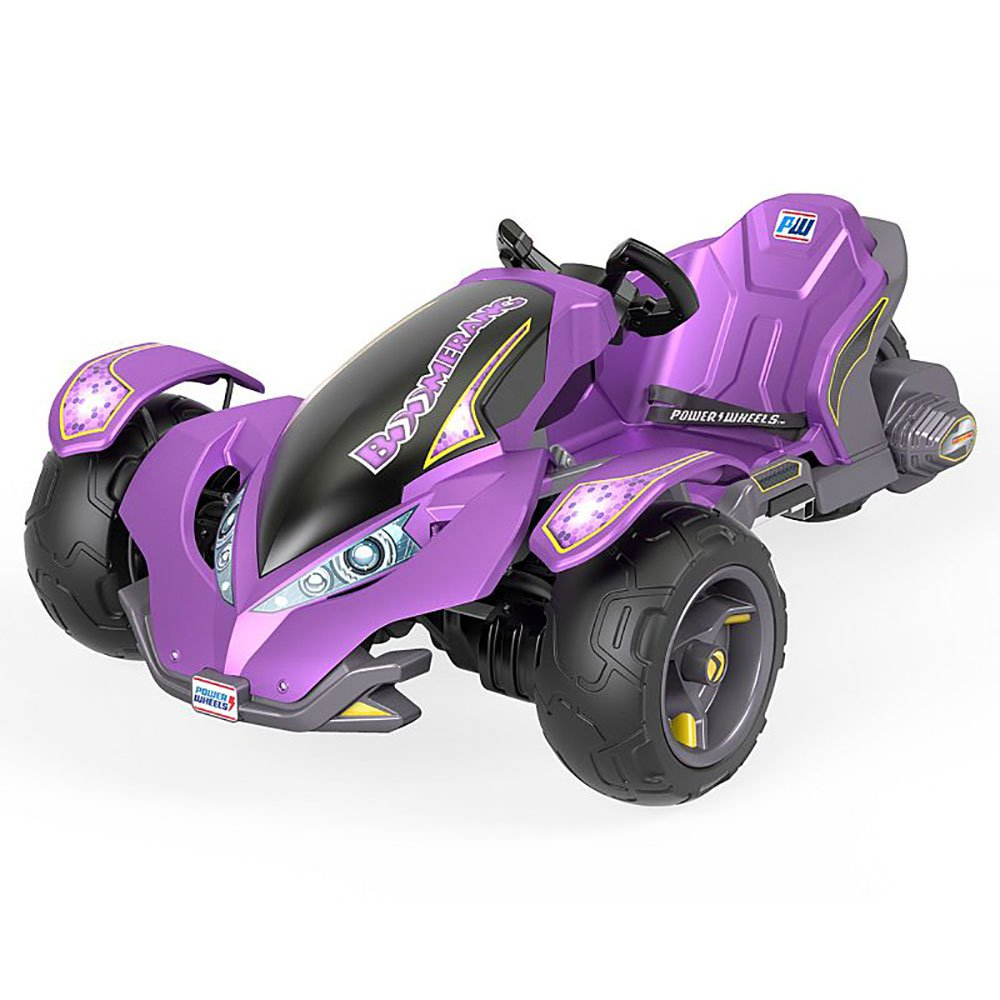 Power Wheels Kids Electric 12 Volt Mini ATV Boomerang Ride On Toy Car, Purple