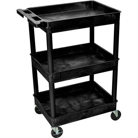 Luxor 300 lb. 24u0022 x 18u0022 3-Shelf Tub Black Utility Cart