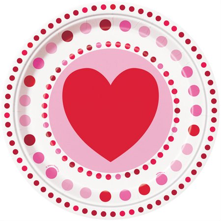Radiant Hearts Valentines Day Paper Dinner Plates, 9in, 8ct