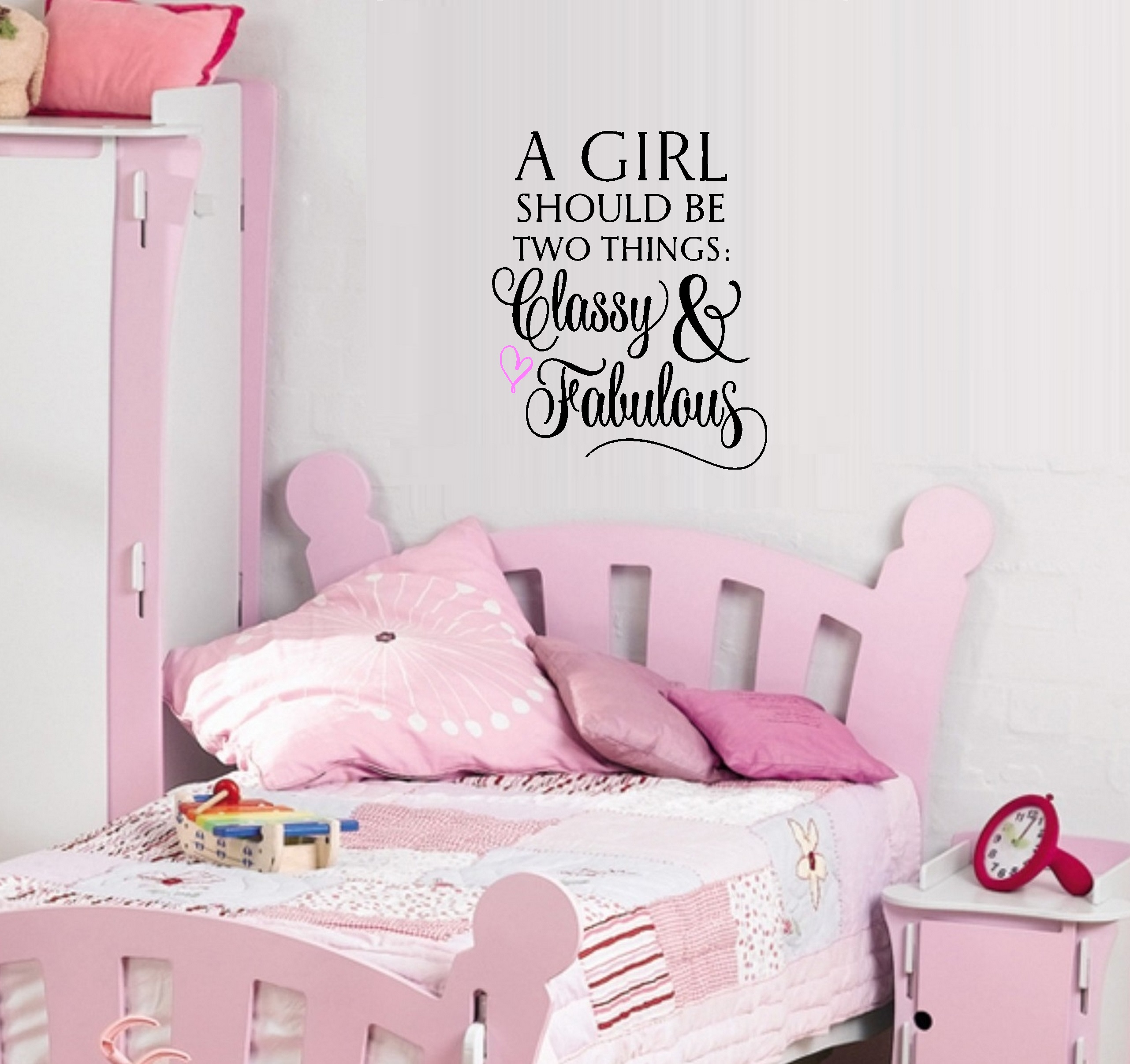 """Decal ~ A Girl should be two things, Classy and Fabulous #3 Wall Decal: 13"""" x 16"""" (Black/Pink Heart)"""