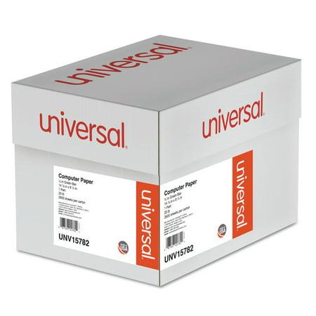 Universal Printout Paper, 1-Part, 20lb, 14.88 x 8.5, White/Green Bar, 2, 600/Carton -UNV15782