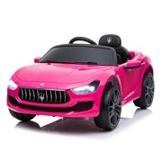 Tobbi 12V Kids Ride On Car, Maserati Licensed Electric Car, Kids to Ride Motorized Vehicle for Girls, with Remote Control MP3 LED Lights, Pink Ride-On Car Toy Gift