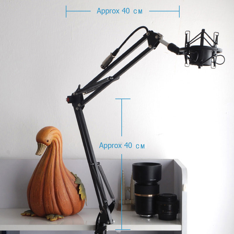 Broadcast Studio Microphone Suspension Boom Scissor Arm stand with Microphone Shock Mount... by