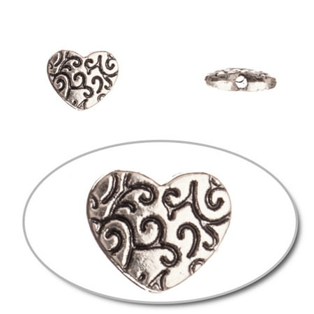 - Pewter Beads, Burnished Silver Plated, Double-Sided Flat Round With Swirls, 10mm Heart 10pcs per pack (2-Pack Value Bundle), SAVE $1