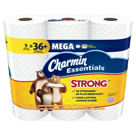 charmin essentials strong toilet paper, 9 mega rolls