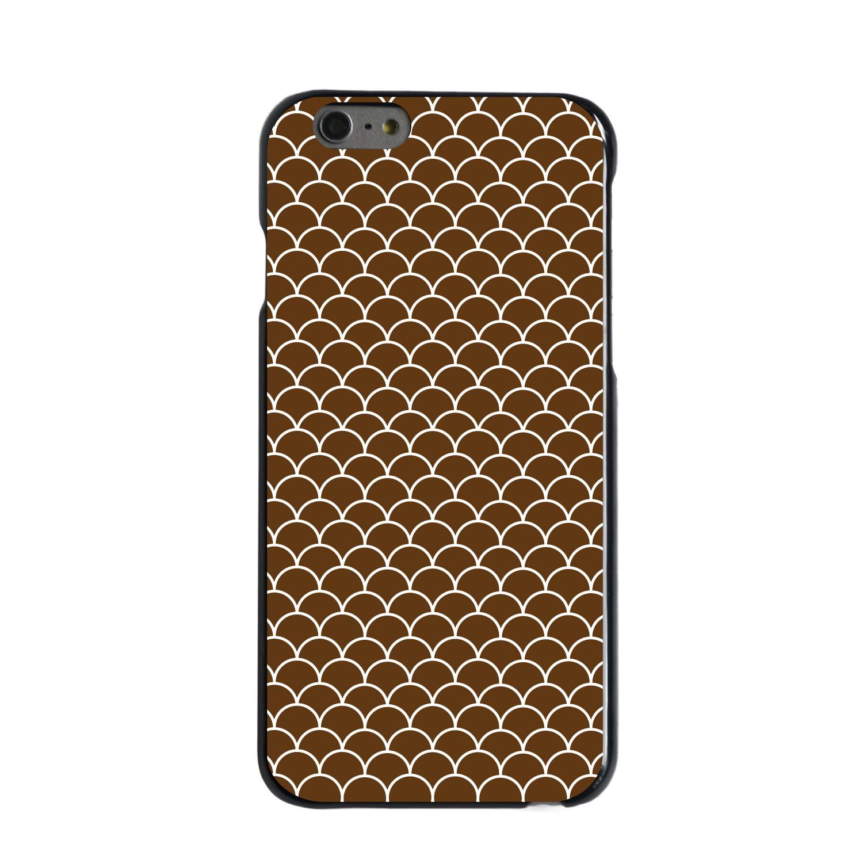 "CUSTOM Black Hard Plastic Snap-On Case for Apple iPhone 6 PLUS / 6S PLUS (5.5"" Screen) - Brown White Scalloped Pattern"
