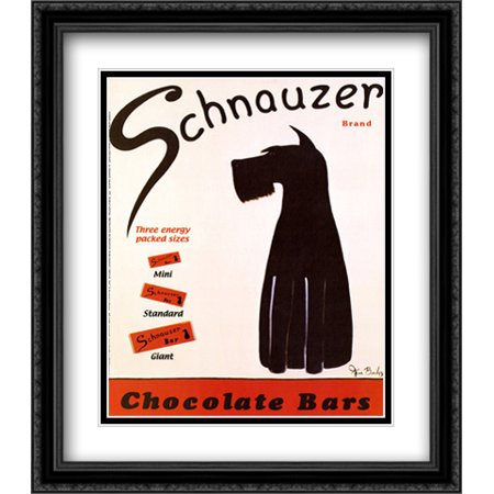 Schnauzer Bars 2x Matted 26x32 Large Black Ornate Framed Art Print by Ken Bailey