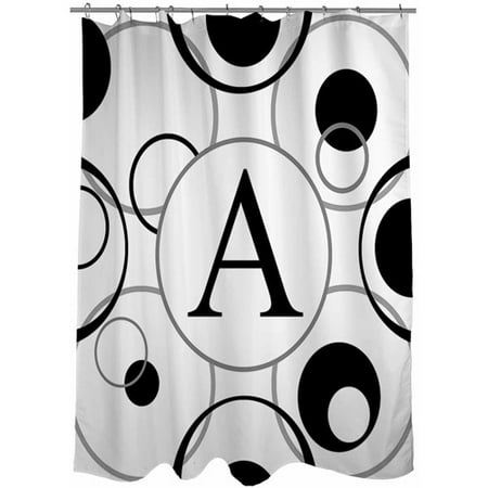 Thumbprintz Circle Variations Monogram Black and White Shower Curtain
