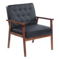 Ktaxon Accent Chair Retro Modern Fabric PU Upholstered Wooden Lounge Chair Black