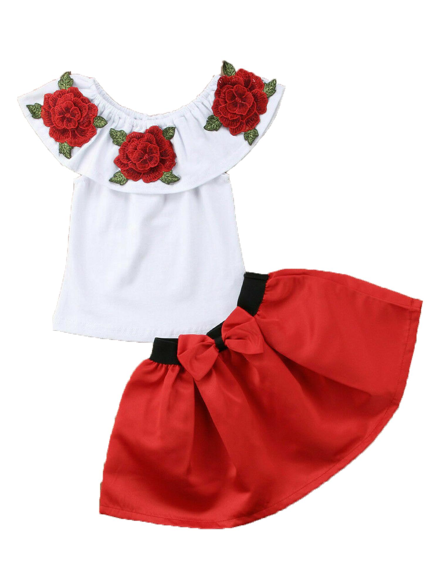Toddler Kids Baby Girls Off Shoulder Tops Mini Skirt Dress Outfits Set Clothes