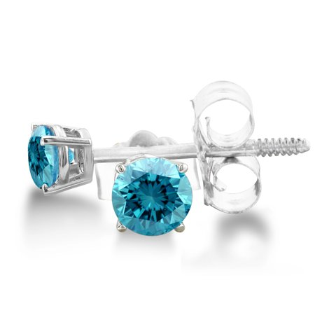 Blue Diamond Journey Earrings (1/10ct Blue Diamond Stud Earrings set in Sterling Silver )