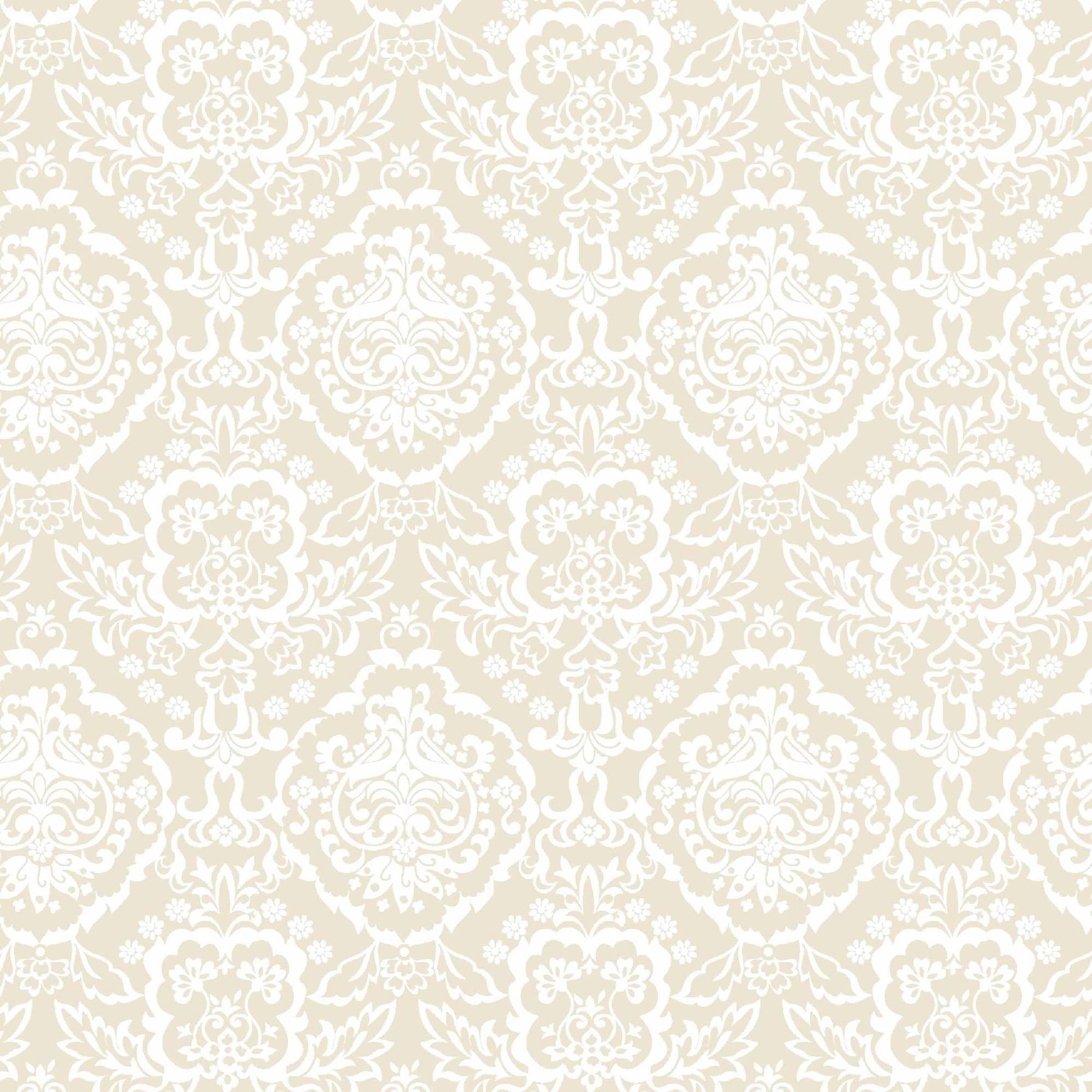 "Floral Baroque Simply Sand Soft Cotton Flannel, 43"" By The Yard"