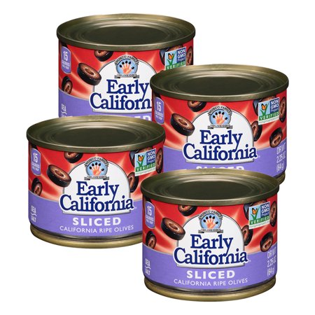 (4 Pack) Early California Ripe Olives, Sliced, 2.25 Oz ...