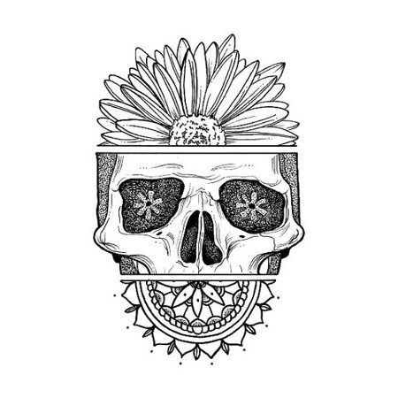 Tattify skull with sunflower temporary tattoo death for Sunflower temporary tattoo