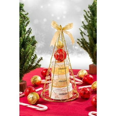 Candy Cane 2 Bath Bombs 195 ml Body Lotion 85 ml Shower Gel 150 g Bath Salt in Gold Lace Iron Plated Pyramid