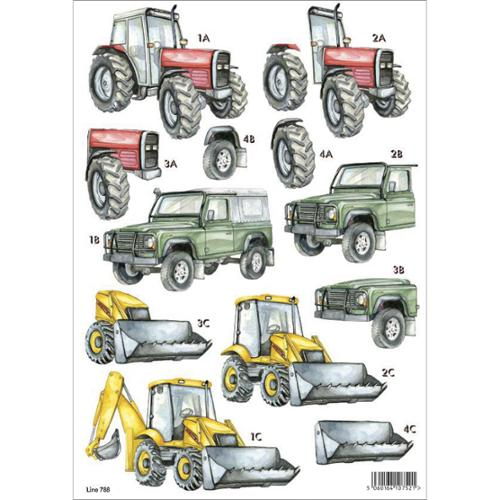 3-D Die-Cut Decoupage Sheet-Tractors