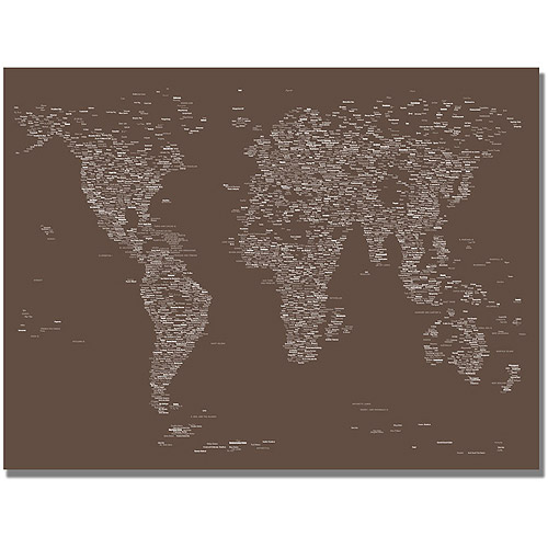 "Trademark Art ""Font World Map IV"" Canvas Art by Michael Tompsett"