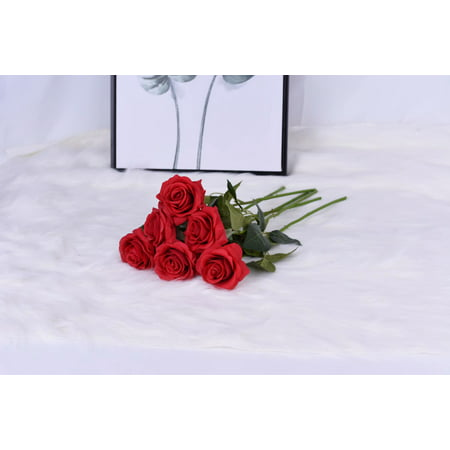 Artificial Flowers Silk Rose Flowers - 6 Pcs Red Roses Fake Flowers Real Touch Bridal Wedding Bouquet for Home Wedding Decoration Garden Party Floral Decor - Elegant Touch Bridal