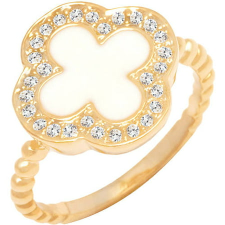 18kt Gold-Tone Natural Shell Clover Ring ()