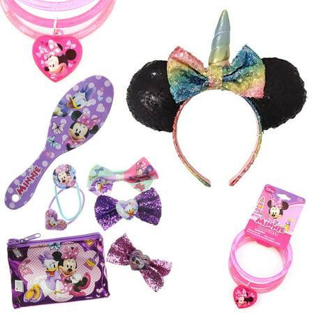 Minnie Mouse Ears Hair Set Bundle 9 Piece Minnie Hair Accessories Kit Includes Unicorn Ears Headband, Minnie Mouse Bows, Brush, and Bracelet with Charm ()