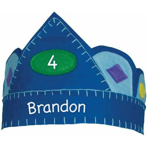 Personalized Blue Birthday Crown with Gems