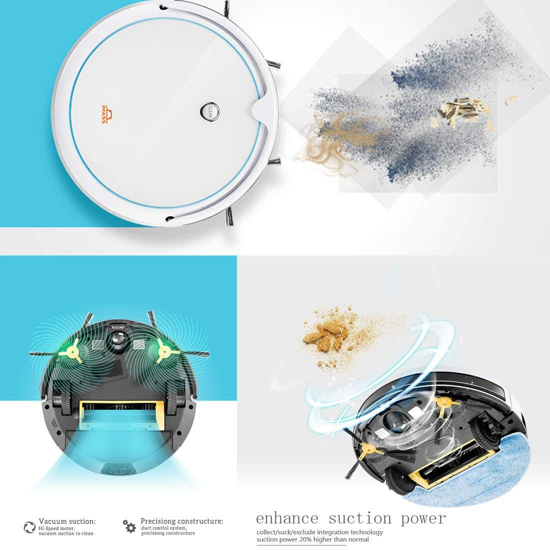 IMASS Smart Robot Vacuum Cleaner Robotic Auto Home Cleaning for Clean Hard Surface Floors & Thin Carpets,Tile