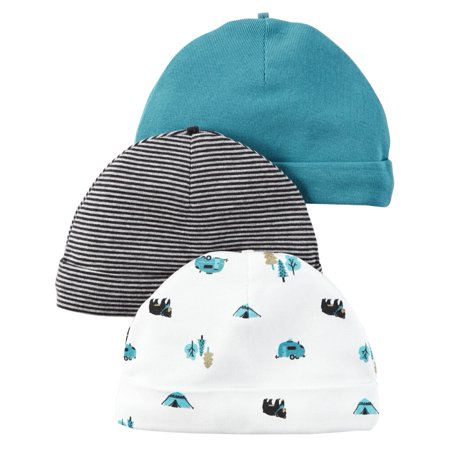 Carters 3-Pack Beanies Camping Blue 0-3M