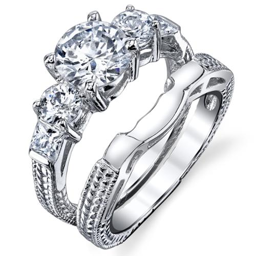 Oliveti Sterling Silver Carved Past Present Future Round-cut Cubic Zirconia Bridal Ring Set Size 6