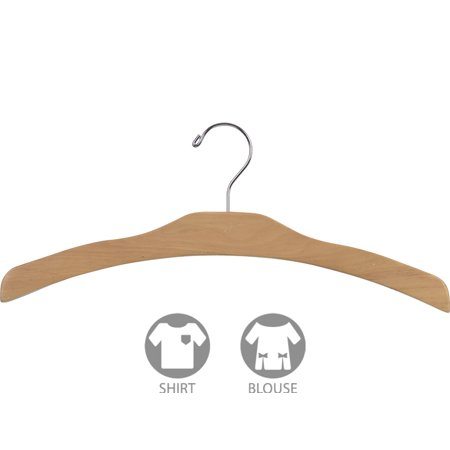 - Arched Wood Top Hanger, Box of 25 Space Saving 17 Inch Flat Wooden Hangers w/ Natural Finish & Chrome Swivel Hook & Notches for Shirt Jacket or Dress by International Hanger