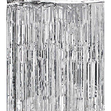 Super Z Outlet 3x8-Feet Metallic Silver Foil Fringe Shiny Curtain (Az Outlet)