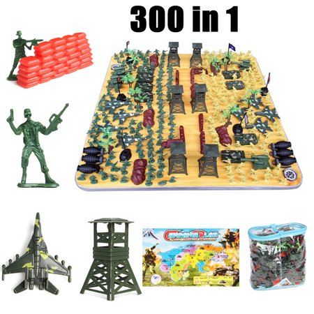 CLERANCE 300Pcs Military Playset Plastic Toy Kit Soldiers Army Men 4cm Figures & Accessories Model for Children Birthday Christmas Gifts