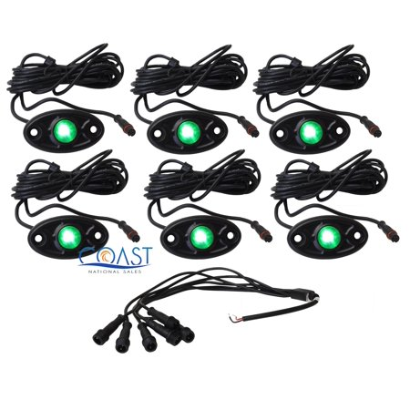 Car Truck High Power Bright Green LED Waterproof 6 pc Glow Pod Rock Light Kit Street Glow Led Pod