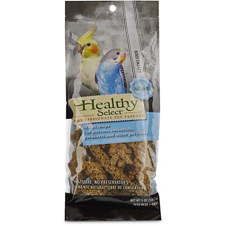 Healthy Select Millet Snips for Parrots, Cockatiels, Parakeets and Other Pet Birds, 5 oz (pack of 1)