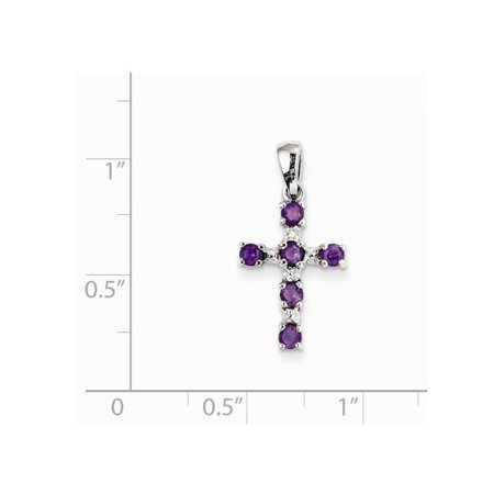 1/3 Carat (ctw) Amethyst Cross Pendant Necklace in Sterling Silver with Chain - image 1 de 2