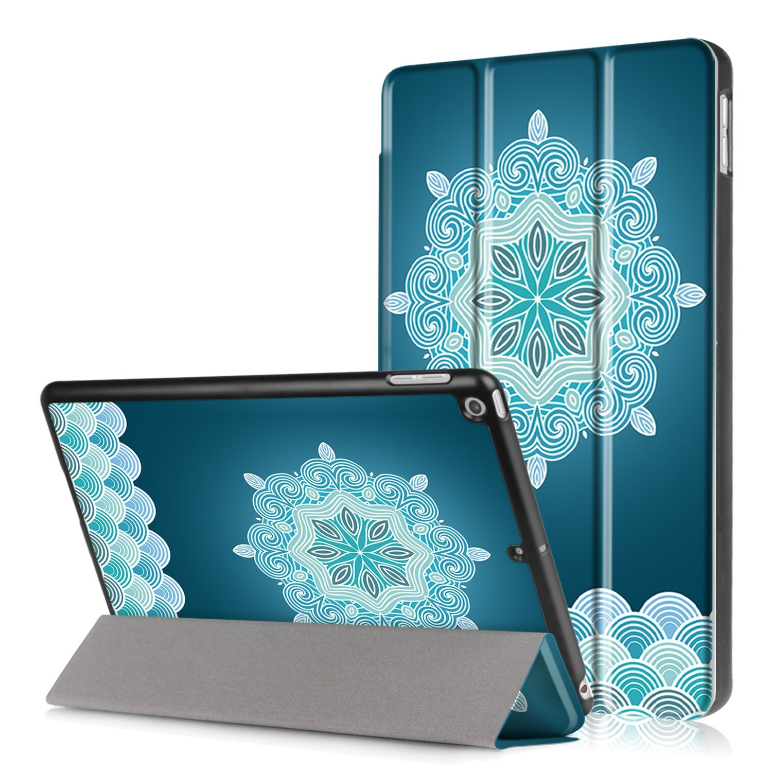 "iPad 9.7"" (2017) Case, EpicGadget(TM) Lightweight Slim Smart Tri-Fold Stand  Auto Sleep/Wake Case Cover For Apple iPad 9.7 Inch Released in 2017 (Medallion Snowflake)"
