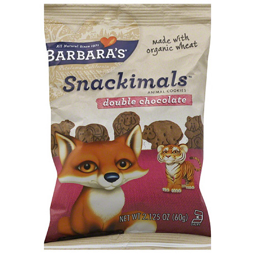 Barbara's Snackimals Double Chocolate Animal Cookies, 2.125 oz, (Pack of 18)