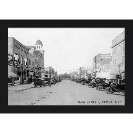Nampa, Idaho - View of Main Street - Vintage Photograph (18x12 Giclee Art Print, Gallery Framed, Black Wood)