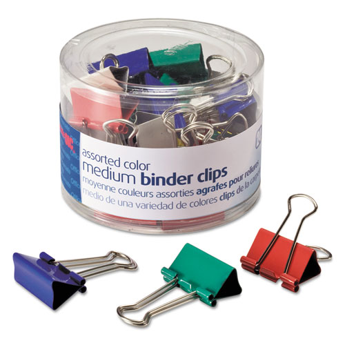 Medium Binderclips comes in assorted colors, 24/tub