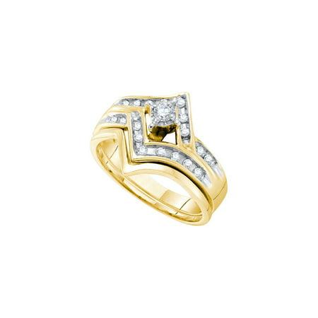 Two Tone Bridal Sets (14kt Two-tone Gold Womens Round Diamond Chevron Bridal Wedding Engagement Ring Band Set 1/4 Cttw)