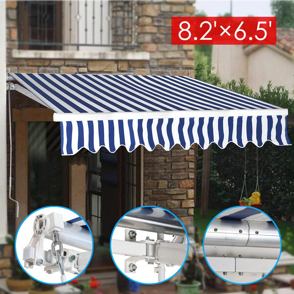 YaHeetech 8.2x6.5 Retractable Manual Patio Canopy Deck Awning Sunshade Shelter Top Quality Window Door Canopy Outdoor... by Yaheetech