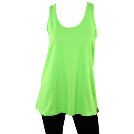 Yellow Mesh Tank Top - Sofra Women's Athleisure Loose Fit Yoga Tank Top Relaxed Flowy Top Tee