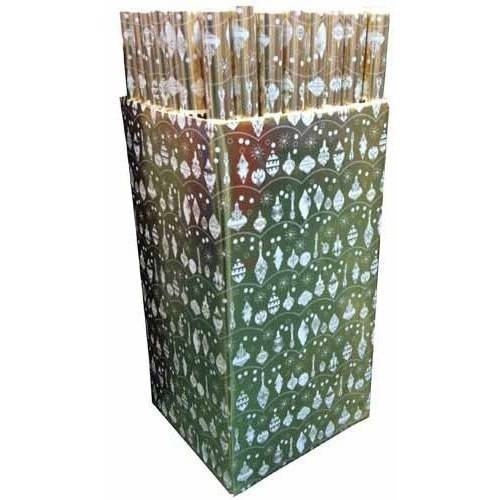 JAM Paper Christmas Design Gift Wrapping Paper, 12.5 sq. ft., Gold Foil with Ornaments, Sold Individually