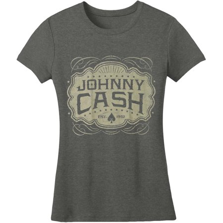 Johnny Cash  JC Emblem Women's Tee Junior Top Heather -