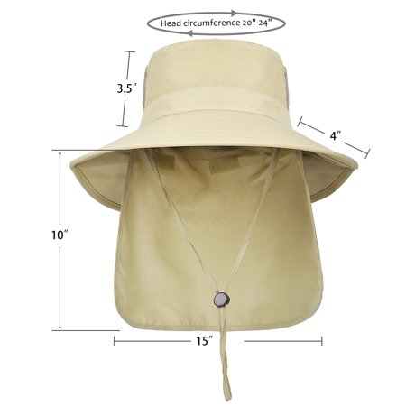 2367f60c Solaris - Men's Sun Protection Hat with Neck Flap Cover,Wide Brim Outdoor  Fishing Hiking Camping Hunting Boating Safari Gardening Working Hat -  Walmart.com