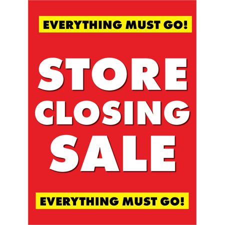 Store Closing Saleretail Display Sign  18  W X 24  H